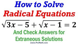 How to Solve Radical Equations that have Two Radicals - Simple Method
