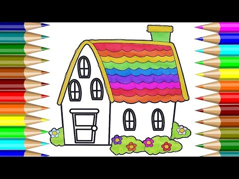 Raibow House Colorful Coloring Book | How To Draw House Colorful | Kids Drawing CP-4K