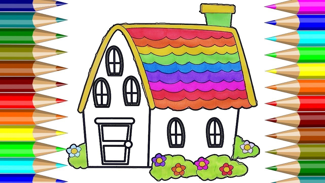 Rainbow House Colorful Coloring Book | How To Draw House Colorful ...