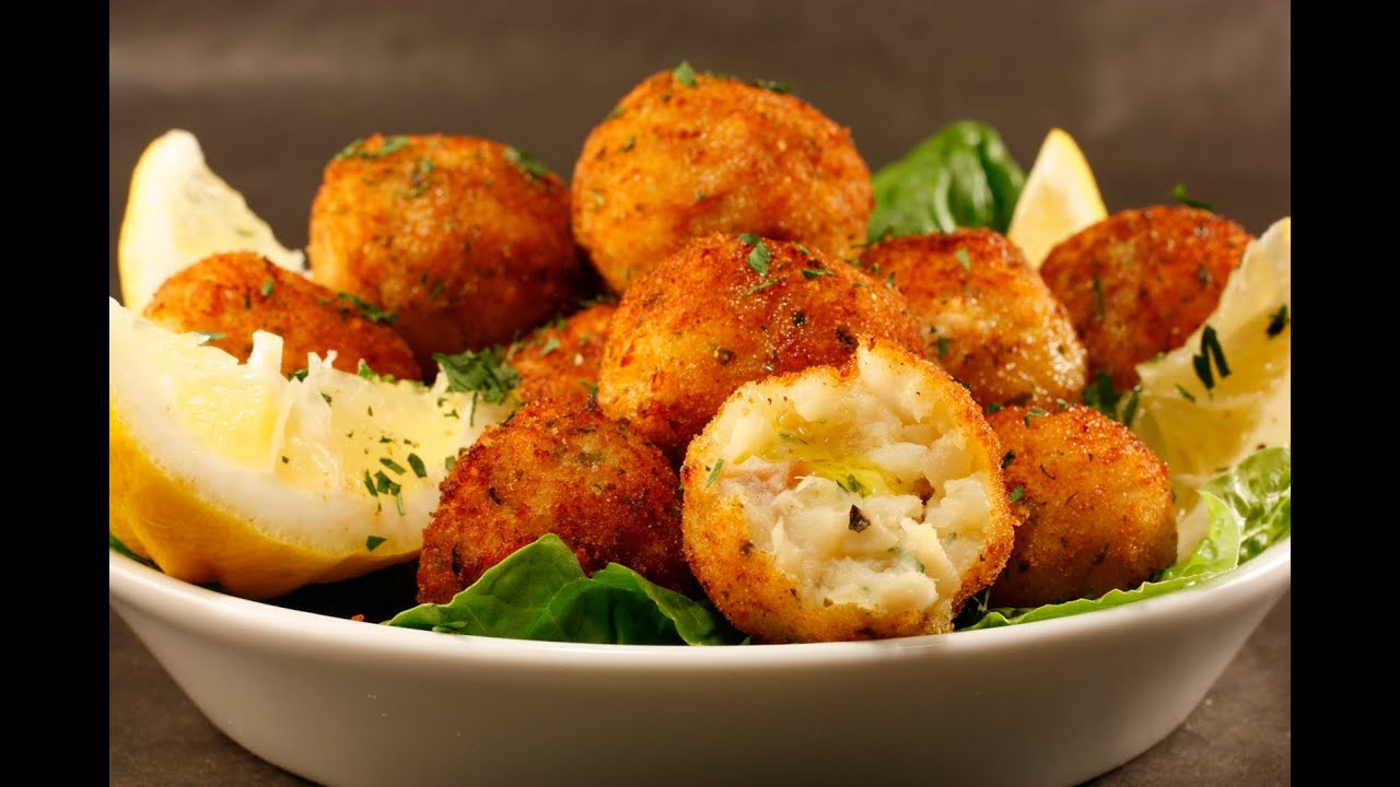 Spicy crunchy tasty cod fish balls with tomato sauce for How to make fish food