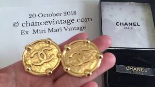 As Seen on Kris Jenner Authentic Vintage CHANEL CC Medallion Coin Earrings