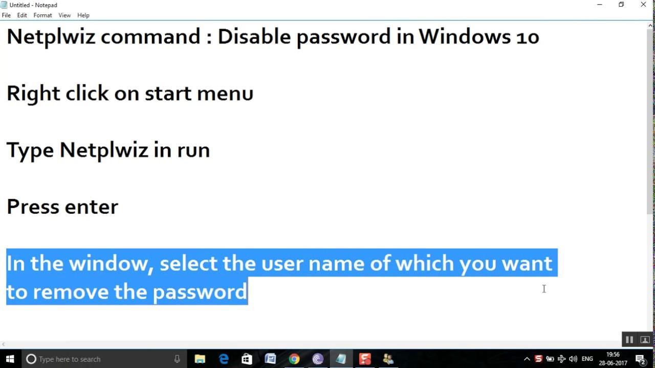 remove password windows 10 netplwiz