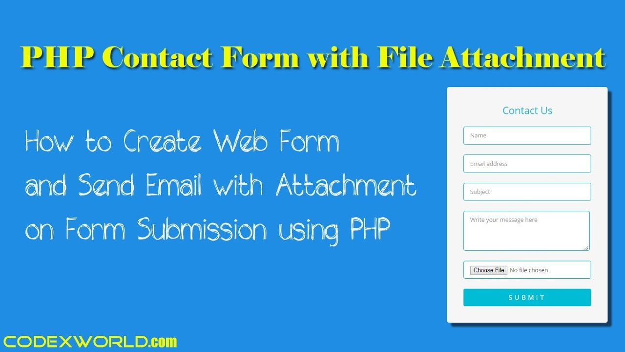 Send Email with Attachment on Form Submission using PHP - CodexWorld