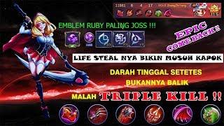 Top Ruby Rahasia Life Steal Easy Comeback !!   Trik dan Emblem Assasin