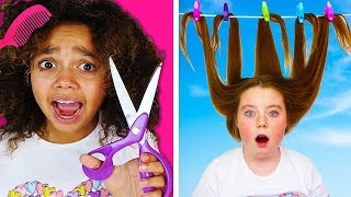 Girls Curly Hair VS Long Hair Problems And Life Hacks