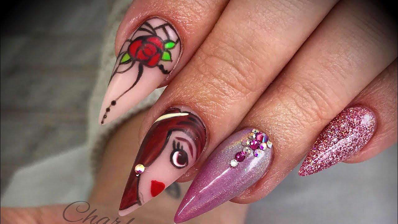 Acrylic Nails Disney Design Set Youtube
