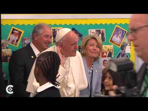 Pope Francis visits school kids in Harlem
