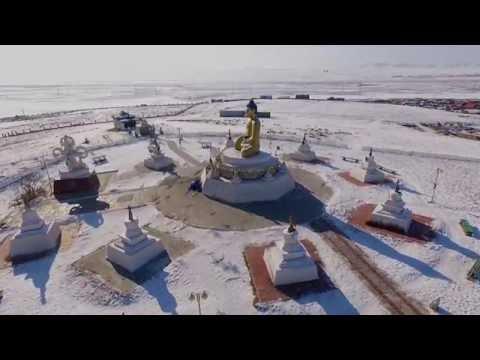 Mongolia DRONE Darkhan-Uul aimag SNOW