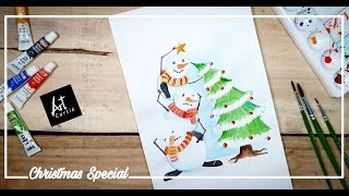 Cute Snowmen Decorating Christmas Tree Water Colour Painting | Drawing Tutorial | Christmas Speical