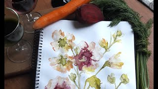 Творчество на карантине. Рисуем овощными соками.