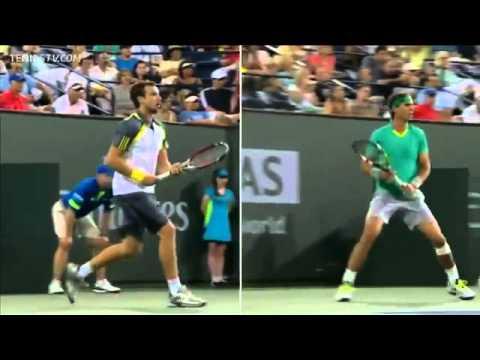 INDIAN WELLS 2013 Nadal & Gulbils forehand comparison