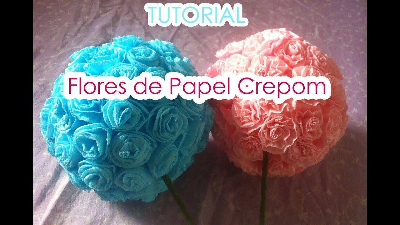 Bola de flores de Papel Crepom TUTORIAL Paper crepe flowers YouTube -> Decoração De Papel Crepom Como Fazer