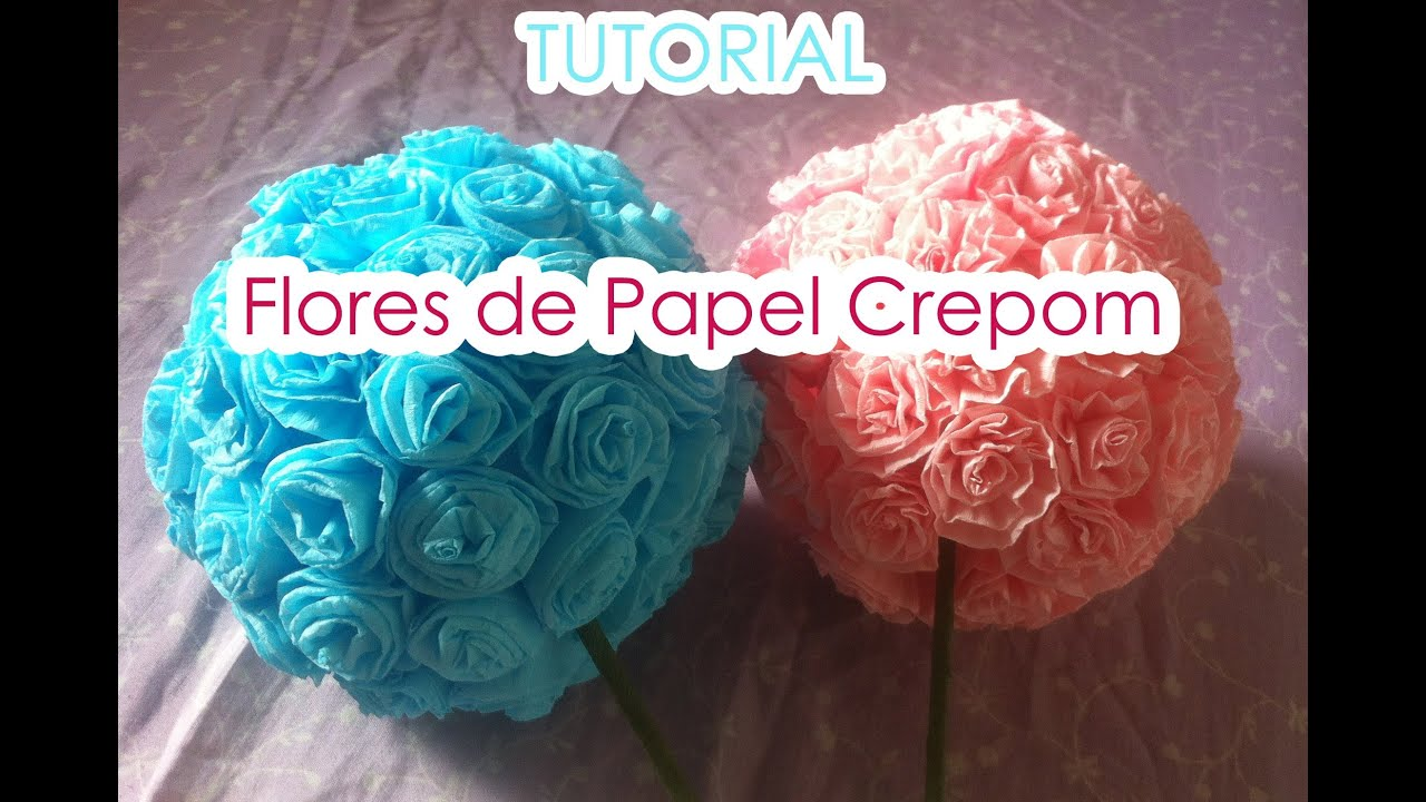 Bola de flores de papel crepom tutorial paper cre for Rosas de papel