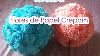 Repeat youtube video Bola de flores de Papel Crepom || TUTORIAL || Paper crepe flowers