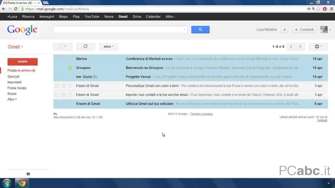 posta in arrivo di gmail come usare gmail 6 18 youtube