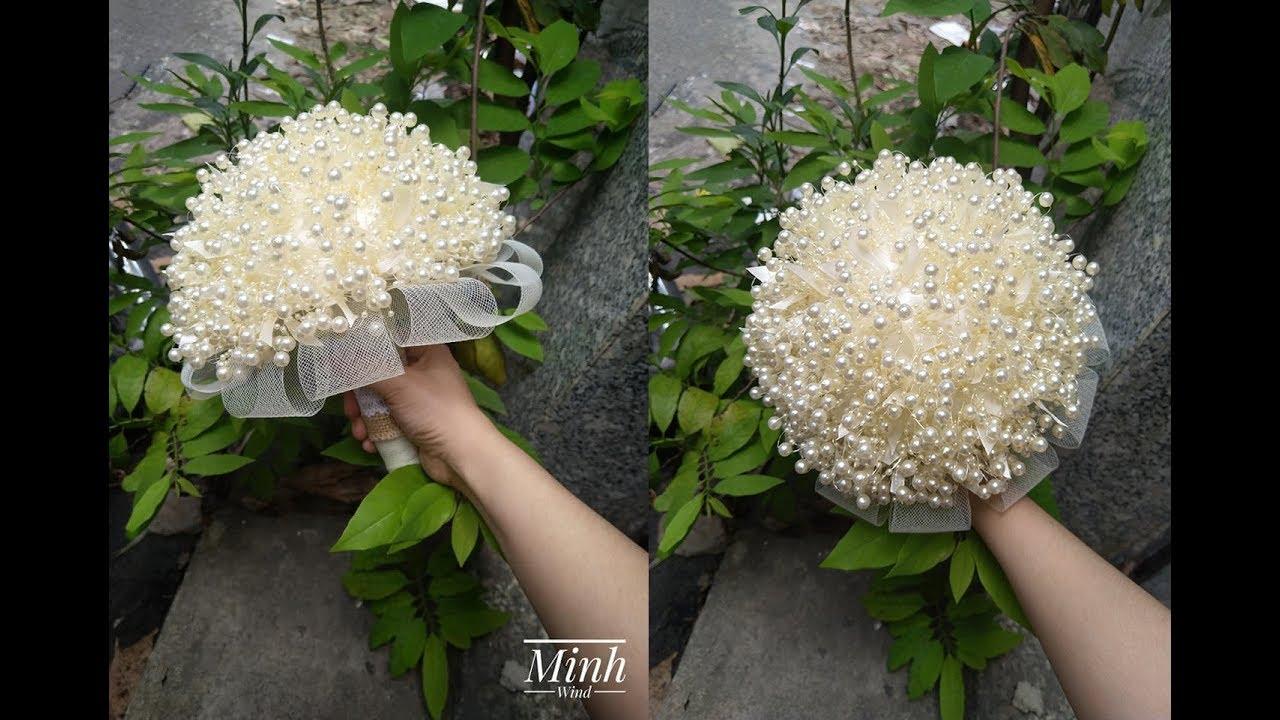 Hướng dẫn làm bó hoa cưới từ cuộn hạt và ruy băng – Wedding Bouquet – MS06