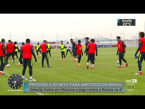 Pela primeira vez, Tite teve todos os jogadores durante treinamento | SBT Brasil (21/03/18)