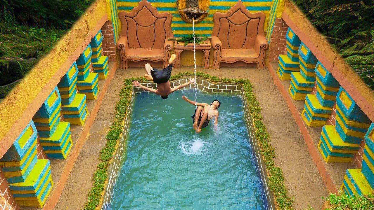 Build Underground Swimming Pool Water Slide Snake Around Secret Underground House