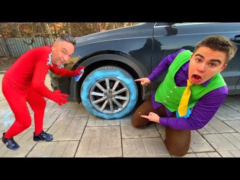 13+ Painter Red Man painted on Wheels VS Mr. Joe on Audi Q3 in Car Wash VS Blue Wheel