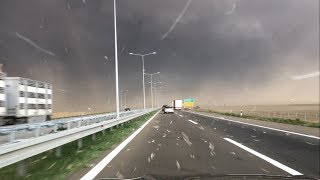 Scary storm came out of nowhere on a highway in Serbia