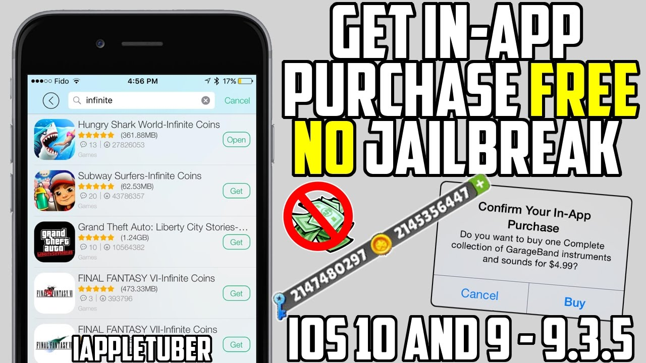 Get FREE in-App Purchases, Unlimited Coins iOS 10 & 9 - 9 3 5 (NO Jailbreak  NO Computer)