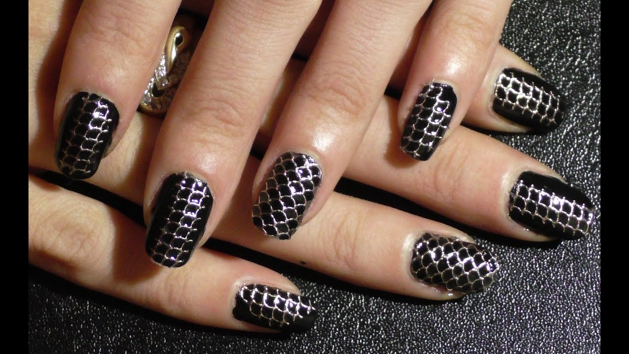 Black and Silver nail art design using stickers.. Schwarz ...
