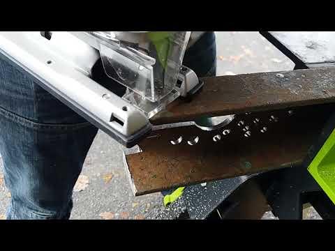 Работа лобзика по металлу (Heavy-Duty Jigsaw working with metal) AEG BST-18X