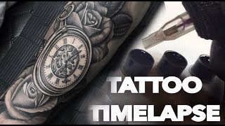 TATTOO TIMELAPSE | TUTORIAL HOW TO | POCKET WATCH ROSES |CHRISSY LEE