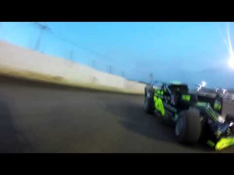 Kyle Armstrong races with Brett Hearn at Lebanon Valley Speedway