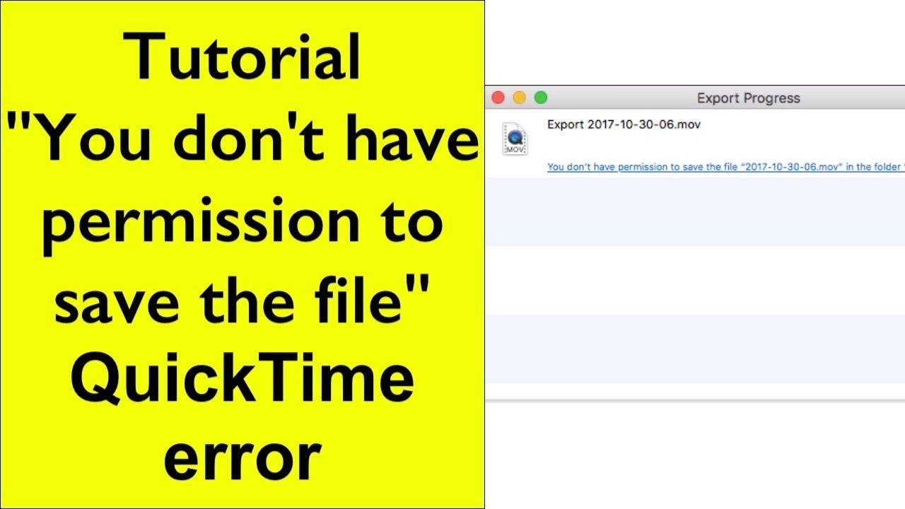 Tutorial - QuickTime Export error - \
