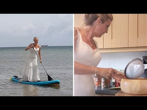 None - This woman has been wearing her wedding dress for a month and I love it