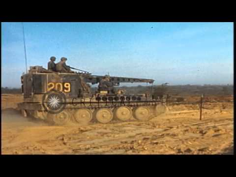 US Army 1st Infantry Division soldiers aboard M-113 APC and M-578 VTR during thei...HD Stock Footage