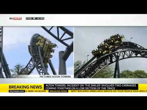 Alton Towers Rollercoaster Crash 16 On Board, 2 Carriages Collide Alton Towers 'Smiler' Ri