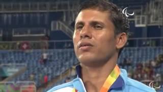Devendra Gold 2 times Gold Medal Winner - Rio 2016 - Indian Flag Hoisted