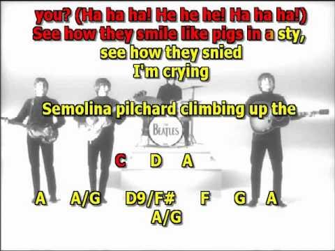 i am the walrus Beatles best karaoke instrumental lyrics chords