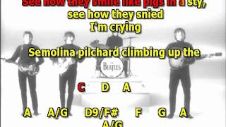 i am the walrus Beatles best karaoke instrumental lyrics chords