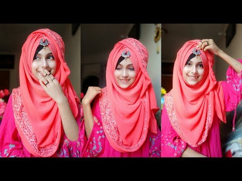 Gorgeous hijab style showing the border with full coverage || Noshin Nower thumbnail