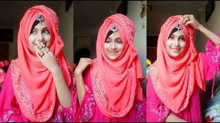 Gorgeous hijab style showing the border with full coverage || Noshin Nower