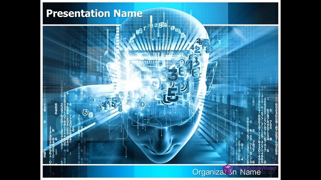 digital brain powerpoint presentation template