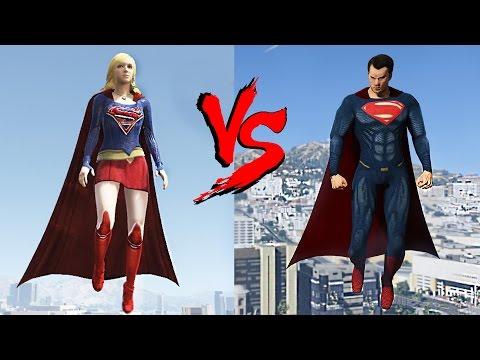 SUPERGIRL vs SUPERMAN - GTA 5 MOD EPIC BATTLE - HD 60 FPS
