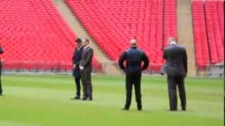 CARL FROCH & GEORGE GROVES ON THE WEMBLEY PITCH BEFORE THE