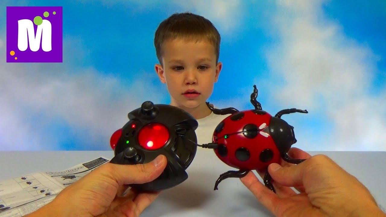 Жук Божья коровка на радио управлении ползает по потолку распаковка  RC Lady Bag unboxing toy