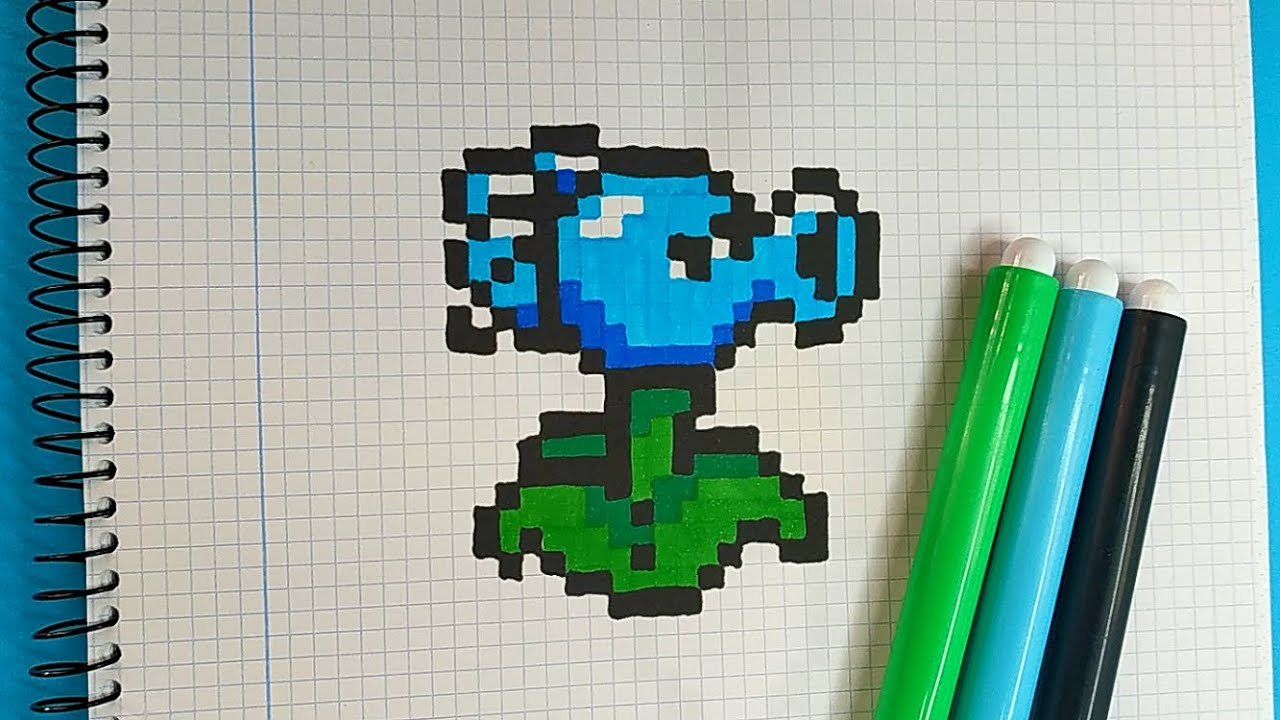 How To Draw Ice Peashooter Pvz Pixel Art Tutorial Step By Step