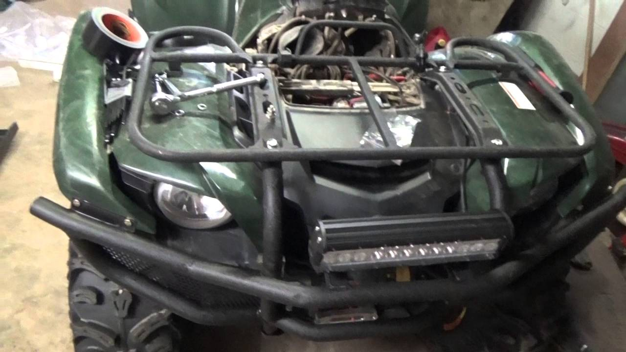 medium resolution of how to yamaha grizzly 550 700 hd bumper led light bar install youtube