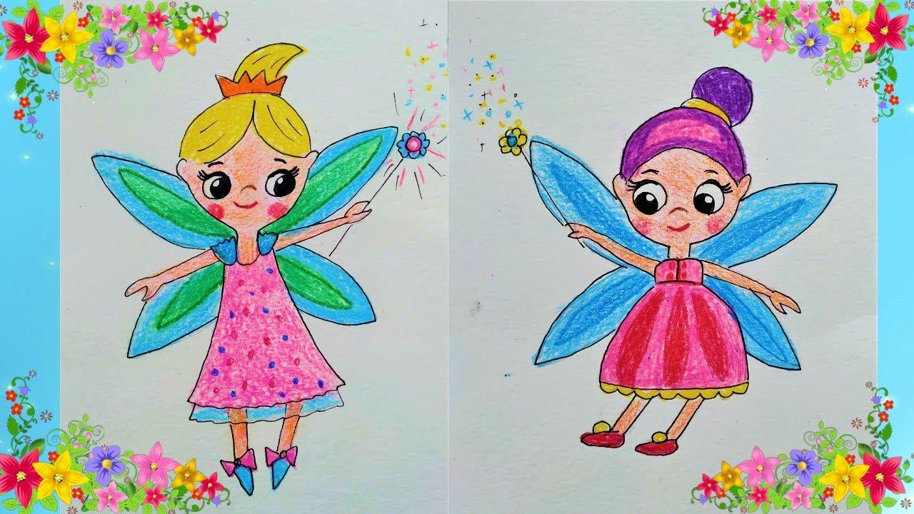 Как нарисовать фею карандашами. Draw a fairy