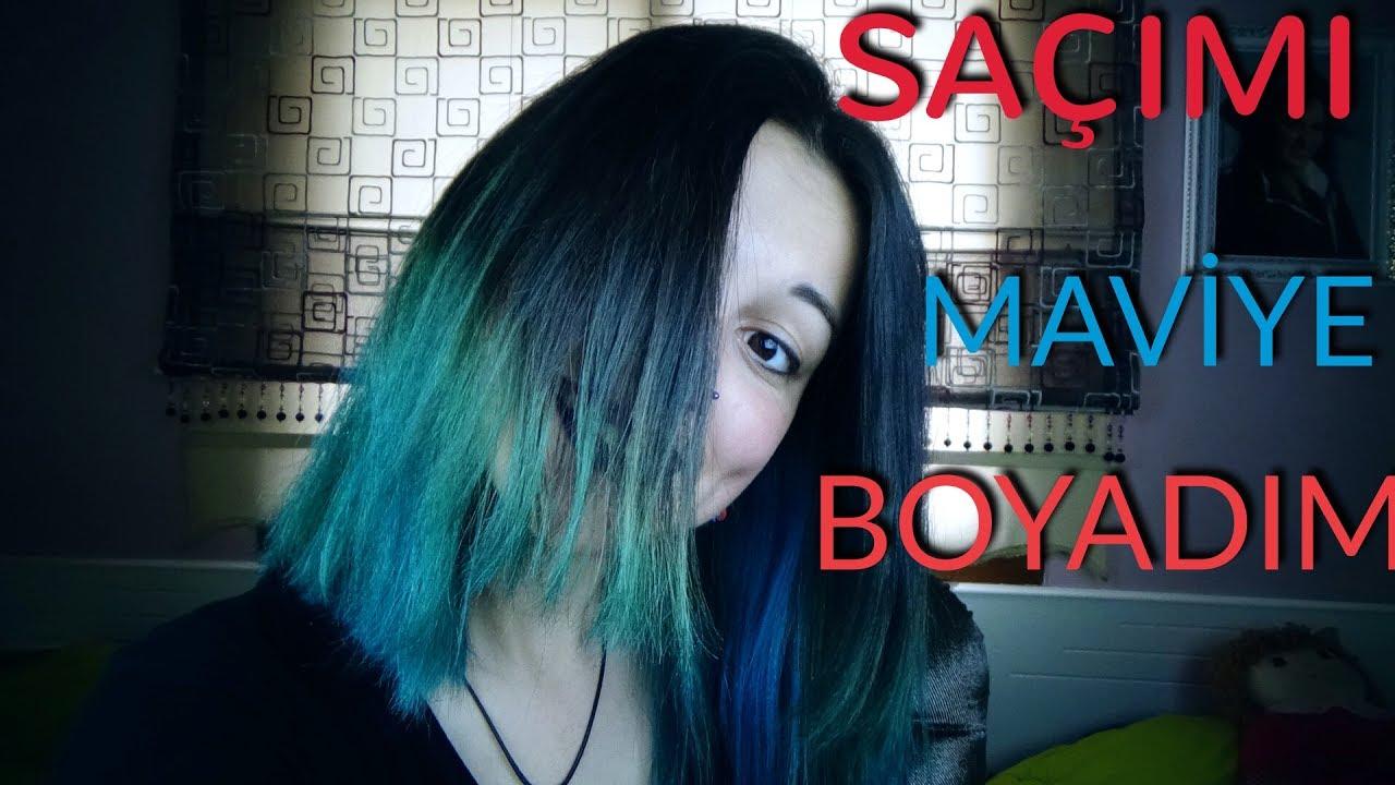 Evde Saçimi Maviye Boyadim Saç Açma Ve Boyama Youtube