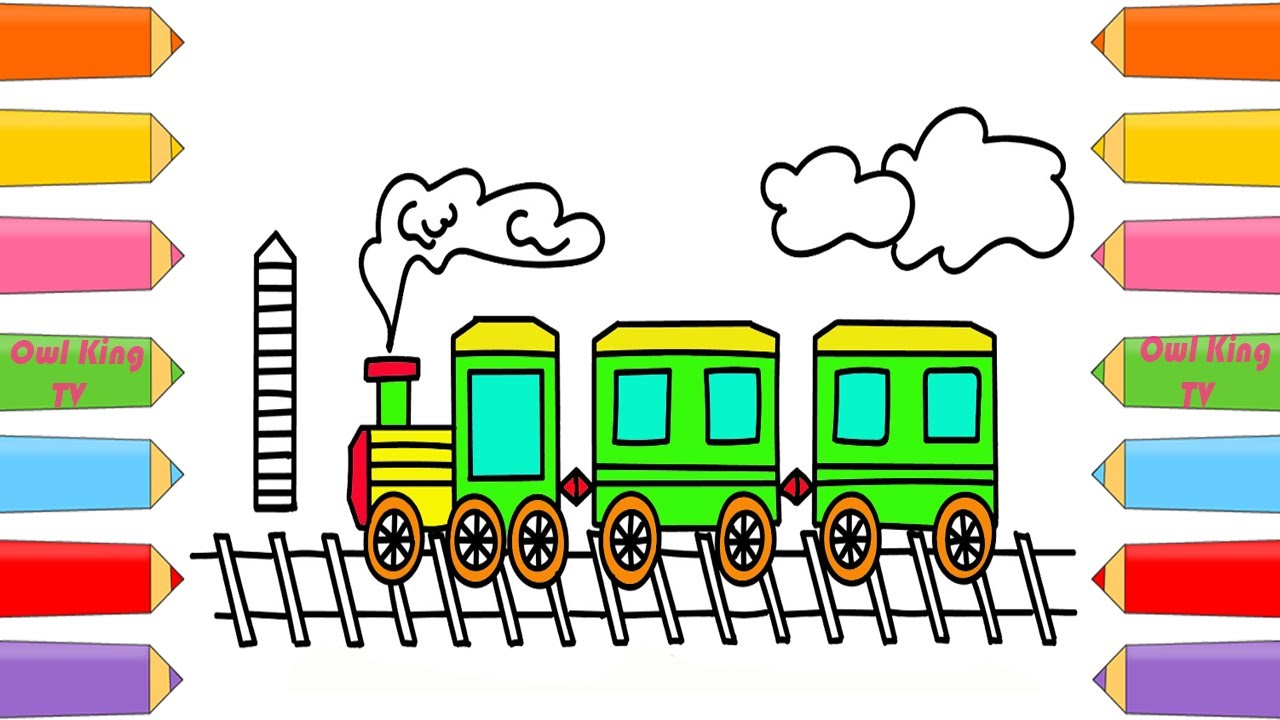 How to Draw Train | Coloring Pages for Children | Nursery Rhymes ...