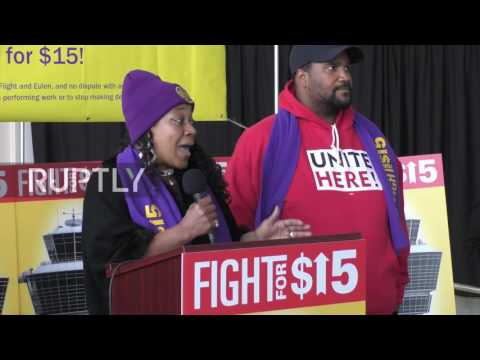 USA: Hundreds of airport workers demand $15 minimum wage at rally in DC