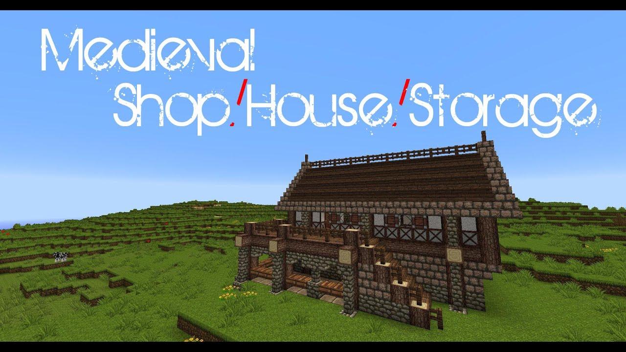 Minecraft Medieval ShopHouseStorage Tutorial YouTube