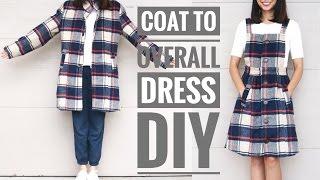 DIY PLAID COAT TO OVERALL DRESS REFASHION